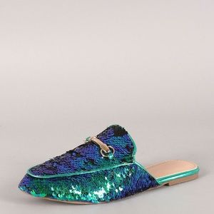 SZ 7.5 Slip On Sequin Loafer Mules Flat Slippers